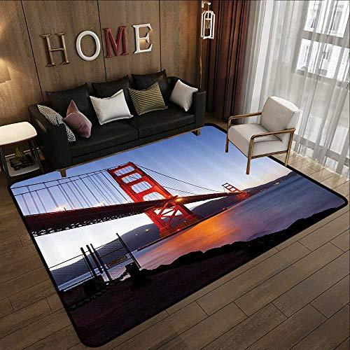 Custom Floor mats,Cityscape,San Francisco Bridge USA City View Golden Gate Traveling Destination,Orange Violet Blue 55