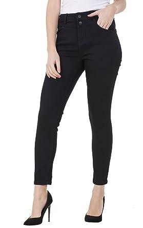 1cc058958d4dd CURVE APPEAL Ladies Black Skinny Fit Super High Rise Denim Blue Stretch  Ankle Jeggings: Amazon.co.uk: Clothing