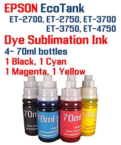Dye Sublimation Ink 4 Multi Color 70ml Bottles - EcoTank ET-2700 ET-2750 ET-3700 ET-3750 ET-4750 Printers New Fill Bottle Cap Installed