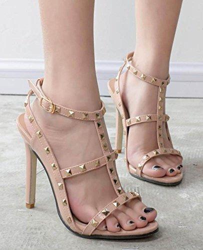 Aisun Womens Unico Fibbia T Cinturino Alla Caviglia Con Punta Aperta Tacco Alto Con Borchie Sandali Con Tacco Alto Albicocca