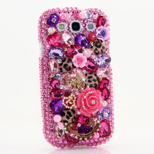 Samsung Galaxy S4 I9500 Luxury 3d Bling Case - Gorgeous Pink Magenta Leopard Cheetah Rose Princess Love Design - Swarovski Crystal Diamond Sparkle Girly Protective Cover Faceplate (100% Handcrafted By Star33mall)
