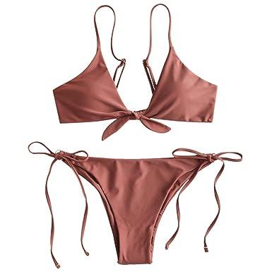 1c872cb12d ZAFUL Women's Tie Knot Front Tie Side String Bikini Set Two Piece Swimsuit  (Light Brown