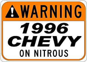 1996 96 CHEVY CAVALIER Z24 Seat Belt Warning On Nitrous Aluminum Street Sign - 10 x 14 Inches