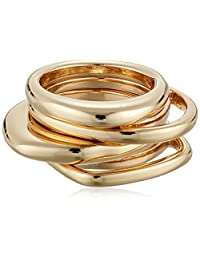French Connection Women's 4 Piece Stackable Ring, Gold, 7
