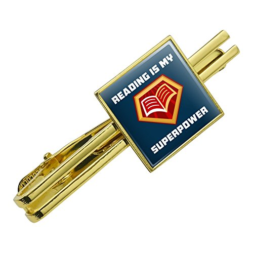 Reading Is My Superpower Square Tie Bar Clip Clasp Tack Gold Color