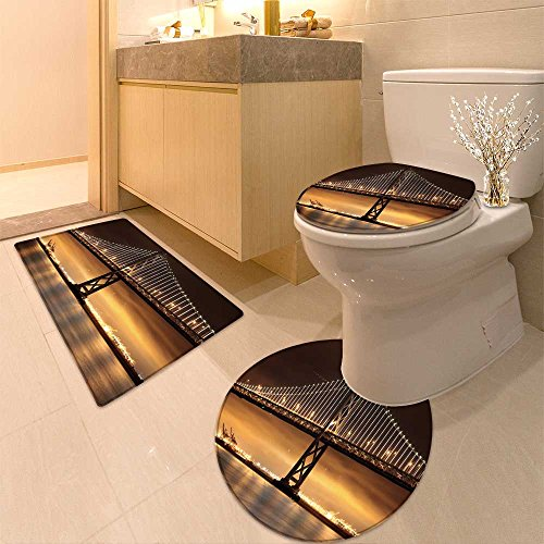 Ne lights illuminate the Bay Bridge connecting San Francisco and Oakland over San Fr Bathroom Rugs Contour Mat Lid Toilet Cover (Oakland Bath Fixture)