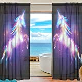 SEULIFE Window Sheer Curtain, Fantasy Animal Unicorn Glitter Voile Curtain Drapes for Door Kitchen Living Room Bedroom 55x78 inches 2 Panels