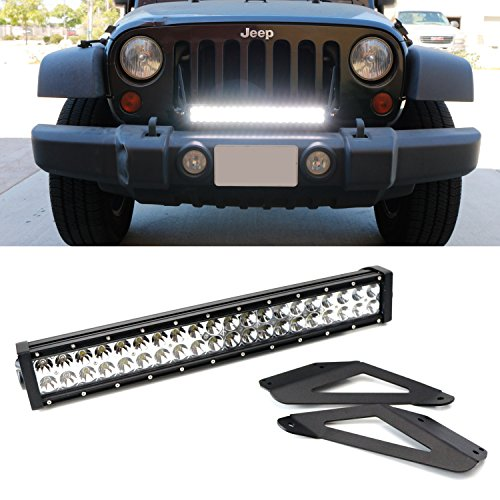 iJDMTOY JK Jeep Wrangler 20 Inch LED Light Bar with Front Bumper Mounting Bracket