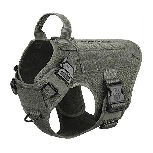 (ICEFANG Military Dog Harness Medium Breed,Tactical K9 Working Dog Vest,Molle Hook and Loop Self Adhesive Tape,No Pulling Front Clip, Metal Buckle Easy Put On Off (M (25