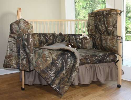 Realtree All Purpose Camo - 6 Piece Crib Set includes (Crib Fitted Sheet, Crib Bumper Pad, Crib Headboard Pad, Crib Comforter, Crib Bedskirt and Crib Diaper Stacker)- Save Big By Bundling!