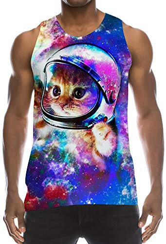 Tanks Top 70s Low Cut Thin Strap Sleeveless T Shirts Colorful Dark Green Smoke Cloud Nebula Astronautic Cat Wife-Beater Decent Jersey Tank for Summer Tropical Casual Daily Working Wear (Green T-shirt Cloud)