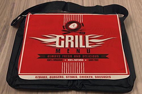 Borsa Tracolla Arredamento Cucina Menu Grill Stampato