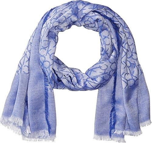 Calvin Klein Women's Chambray CK Border Scarf, Adrenaline Blue, One Size by Calvin Klein