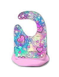 Waterproof Baby Super Bib Feeding Roll-up Bibs Unicorn Heart Love Silicone Bib For Babies&Toddlers
