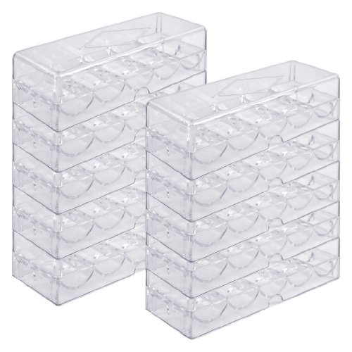 Paulson Chip Rack - Brybelly Acrylic Poker Chip Rack/Tray with Covers (Set of 10), Clear