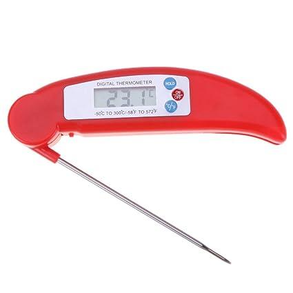 Lookthenbuy - Termómetro digital plegable para horno de carne, cocina, barbacoa, leche,