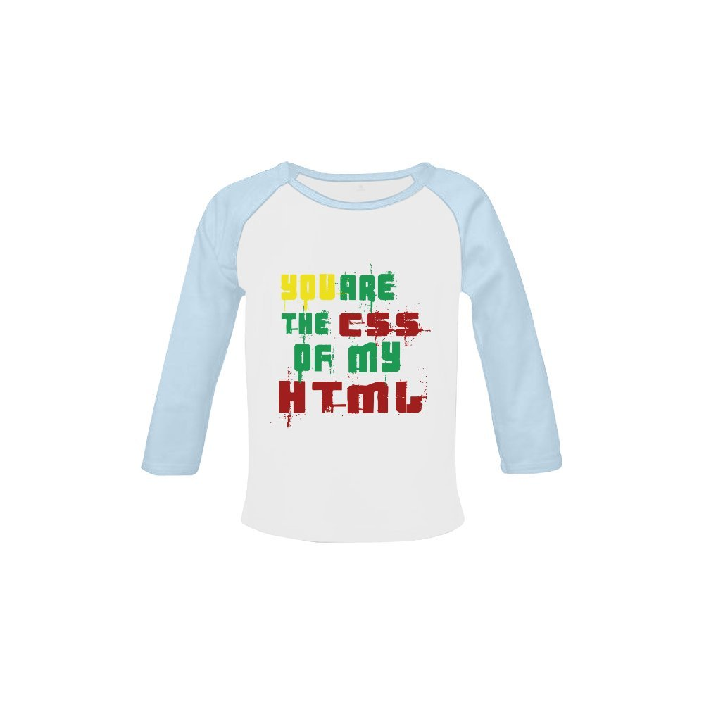 Infant T-shirt You Are The CSS Of My HTML Cotton Crew Neck Long Sleeve Shirt For Baby 3 months to 18 months
