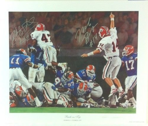 """Mike Bobo & Robert Edwards Autographed/Signed Classic Noah Stokes 15x12 NCAA Print Silver Ink """"Back on Top"""""""