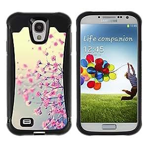 Suave TPU Caso Carcasa de Caucho Funda para Samsung Galaxy S4 I9500 / Blooming Floral Petal Nature Cherry / STRONG