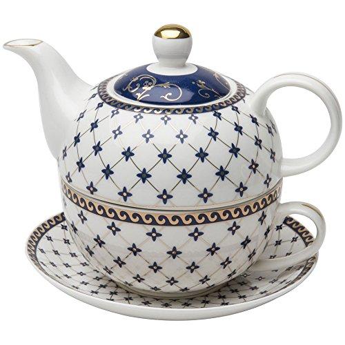 Grace Teapot Set - Grace Teaware Porcelain 4-Piece Tea For One (Trellis Blue Gold Trimmed)