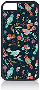 Colorful Birds Pattern- Case for the Apple Iphone 6 Plus Only-Hard Black Plastic Outer Shell