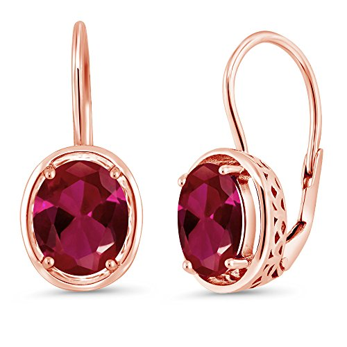 (Gem Stone King 4.00 Ct Oval Red Created Ruby 18K Rose Gold Plated Silver Dangle Earrings)