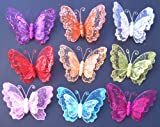 "Silver Double Layer Butterfly Clip Christmas Decoration (6pcs-7"")"