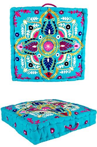 Yogakissen handbestickt mit Motiv Meditationskissen Cushion Kissen Wohnung