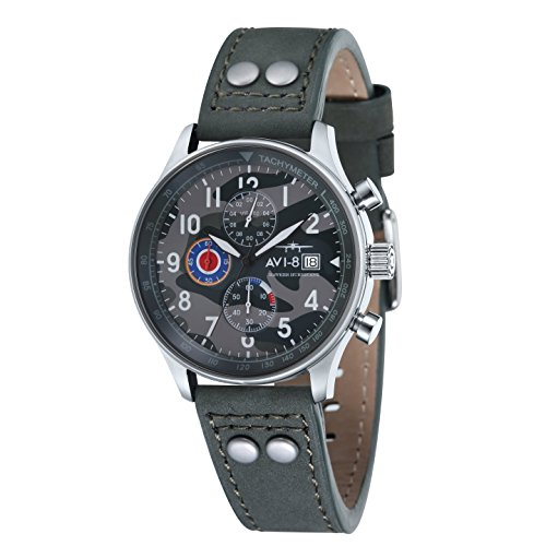 AVI-8 AV-4011-0A Mens Hawker Hurricane Grey Leather Strap Chronograph Watch