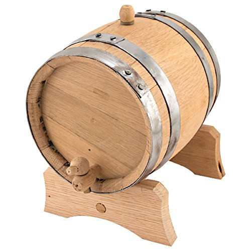 Oak Dispensing Barrel with Galvanized Steel Bands - Unfinished - 1 Gallon' by KegWorks