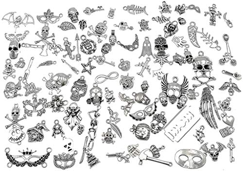 100pcs Halloween Charm Pendant Hallowmas Theme Charm for DIY Jewelry Making Accessories(Antique Silver Tone) ()