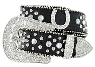 Western Cowgirl Horseshoe Charm Bling Belt with Rhinestone Studded Buckle and Strap