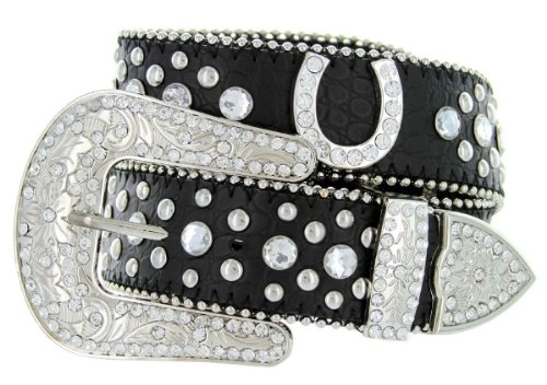 Western Cowgirl Horseshoe Charm Bling Belt with Rhinestone Studded Buckle and Strap (34, Black)