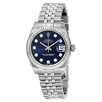 7a2ef304c9f Image Unavailable. Image not available for. Color: Rolex Datejust 31 Blue  Diamond Dial Steel and 18K White Gold Automatic Ladies Watch 178274BLDJ