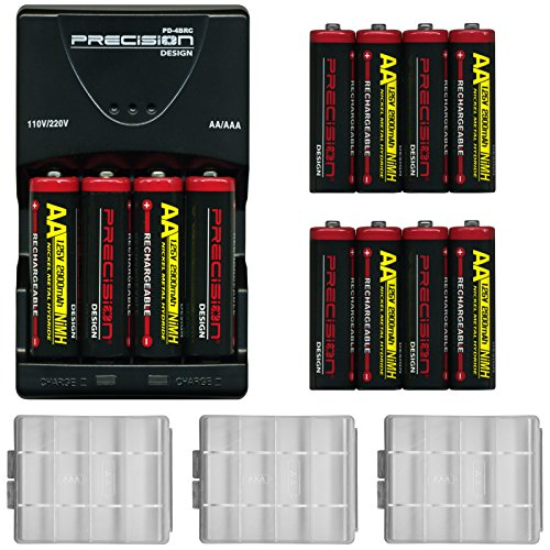 (12) Precision Design (4 Pack) 2900mAh AA NiMH Rechargeable Batteries & Charger + Cases for Canon Powershot, Nikon Coolpix, Sony CyberShot, Kodak, Fuji, Panasonic, Pentax & Olympus Cameras, Flash (Sanyo Batteries Nicad)