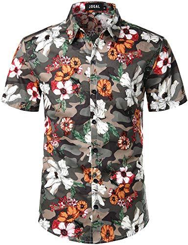 JOGAL Men's Cotton Button Down Short Sleeve Hawaiian Shirt Medium Camouflage ()