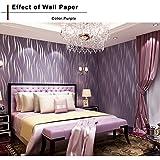 Oanon 3D Non Woven Purple Wallpaper, Non Stick Modern Decorative Wallpaper  Roll Contemporary Living
