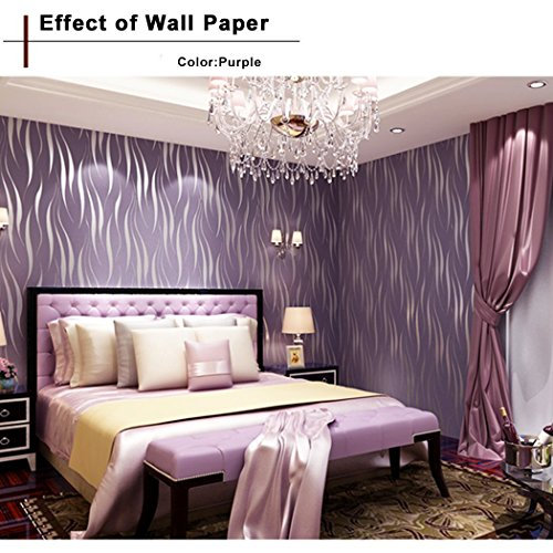 Oanon 3D Non-woven purple wallpaper, Non Stick Modern Decorative Wallpaper Roll Contemporary Living Room Wallpaper