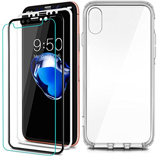 For Apple iPhone X Screen Protector, COOLQO [3-Pack] Black & White [Full Coverage] [3D Touch] 0.3 mm 9H Hardness HD Shatter-Proof Anti-Scratch Anti-Fingerprint Bubble Tempered Glass + Phone Clear Case