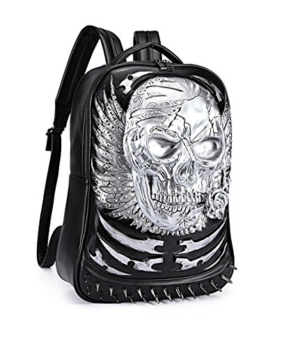 Bolsa de hombro doble Cabeza de cráneo 3D de Halloween iPad mochila Plata