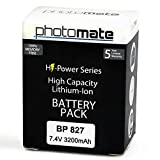 PhotoMate BP-827 BP827 Ultra High Capacity Rechargable Battery Pack (3200mAh) for Canon VIXIA / LEGRIA HF S10, S11, S20, S21, S30, S100, S200, M30, M31, M32, M31, M32, M36, M40, M41, M300, M306, M400, G10, XA10, HFS10, HFS11, HFS20, HFS21, HFS30, HFS100,