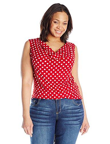 Star Vixen Women's Plus-Size Sleeveless Drapeneck Top, Red Dot, 3X