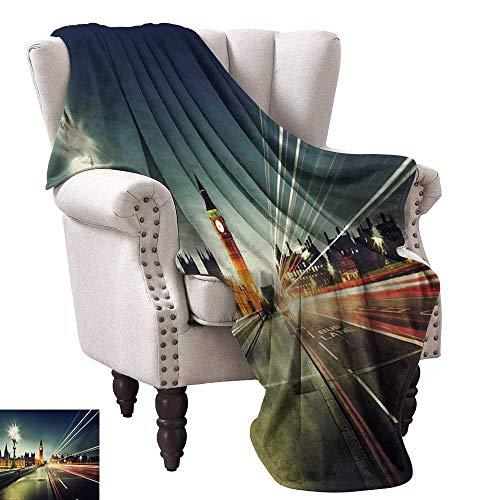 WinfreyDecor London Warm Blanket Big Ben from Westminster Bridge Evening Urban Life England City All Season Premium Bed Blanket 36