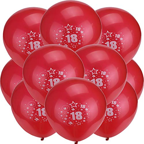 Red And Pink Girls 18th Birthday Balloons Bulk - Gbell Latex Balloons Anniversary Party Decoration Gifts,10Pcs 25cm ()
