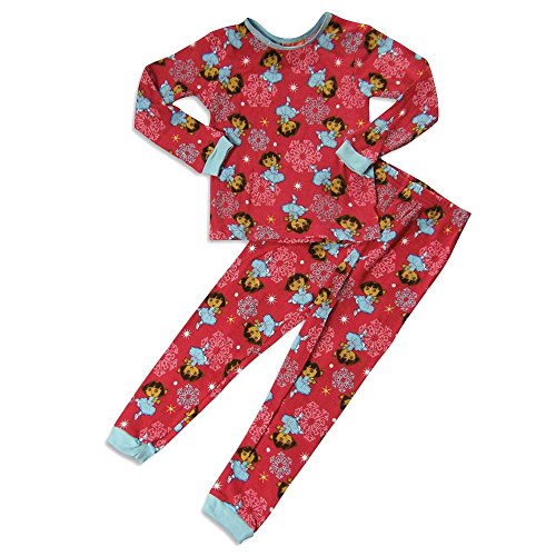 Dora the Explorer by Nickelodeon - Little Girls' Long Sleeve Dora Thermal Pajamas, Strawberry 23253-8
