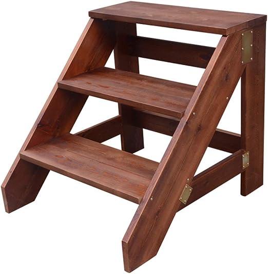 Taburete de Escalera de Madera de 3 escalones con Pedales Anchos Plataformas de escaleras de Servicio Pesado para niños o Adultos, Escaleras de Herramientas de jardín en casa: Amazon.es: Hogar