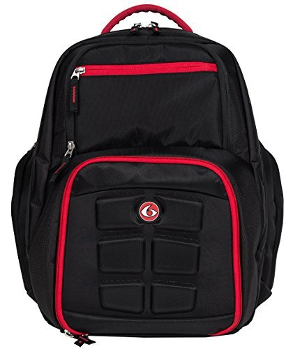 6 Pack Fitness Expedition Backpack Meal Mangement System 300 Black/Red