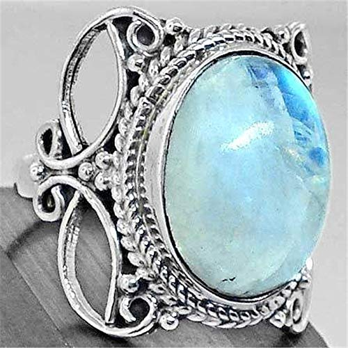 Silver Rings Ebay (DHmart Large Blue Moonstone Vintage Ring Hollow Out Printing Silver Anel Bague for Women Anniversary Jewelry Anillos)