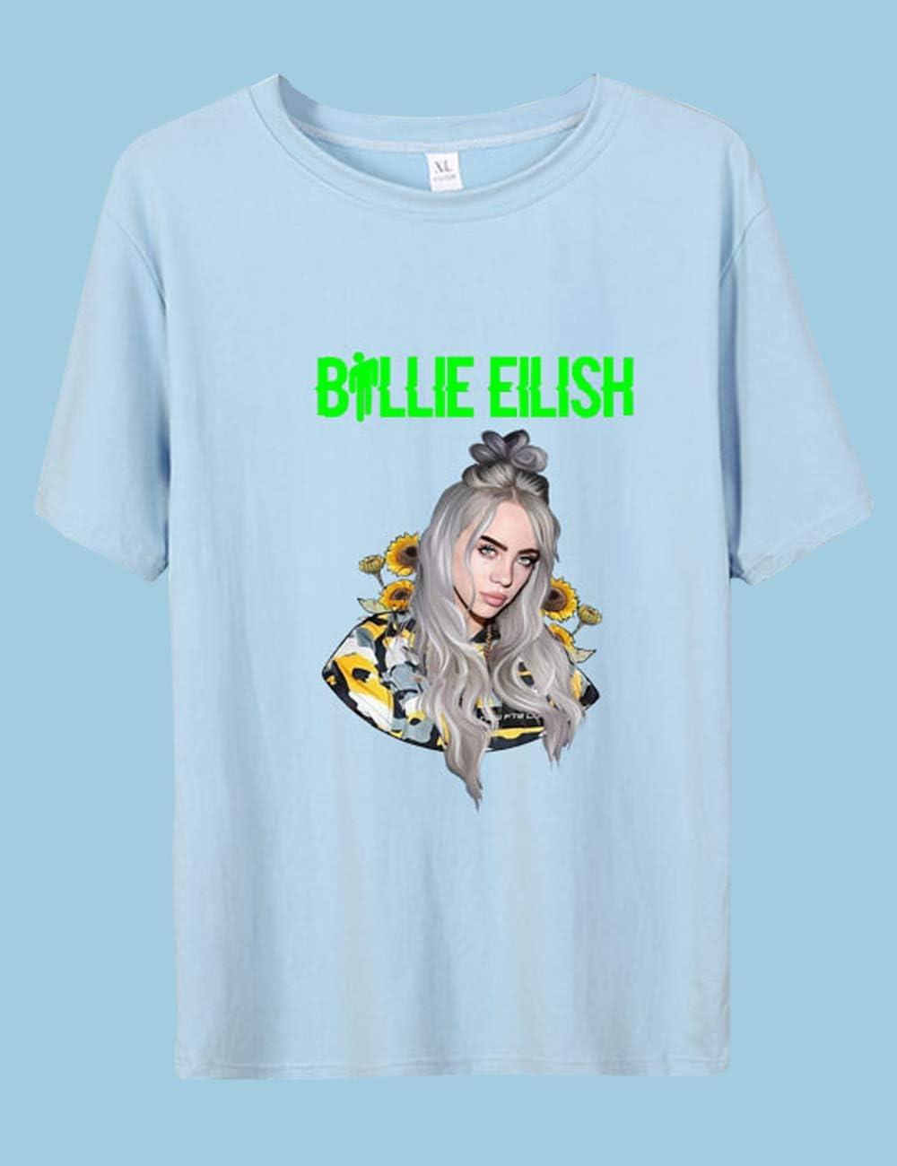 Siennaa Billie Eilish Camiseta para mujer, adolescente, niña, Bellyache, verde neón, impresión 3D, camiseta para mujer, hombre, baño, Guy, verano, camisetas, When We All Fall Asleep, manga corta, color A-Blau, tamaño xxxx-large: