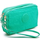 liangdongshop Leisure Style Solid Color Nylon Multi-layer Wristlets Clutches Cell Phone Bag Wallet Pouch (Olive Green)